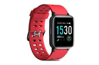 (Red) - CHEREEKI Fitness Tracker, Fitness Watch with Heart Rate Monitor Waterproof IP68 3.3cm Colour Screen Smartwatch, Stopwatch, Step Counter, Sleep Monitor Activity Tracker for Men Women Kid