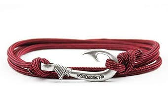 (Firefighter) - Chasing Fin Adjustable Bracelet 550 Military Paracord with Fish Hook Pendant