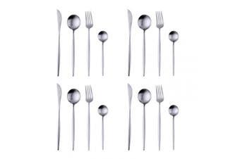 16-Piece Dinnerware Set Silver Cutlery with Matt Polish, Bisda 18/10 Stainless Steel Tableware Service for 4 Dishwasher Safe