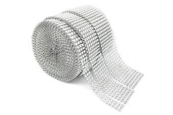 Benvo Rhinestone Ribbon 3 Rolls 10 Row, 7 Row, 3 Row 10 Yard Acrylic Bling Diamond Roll for Wedding Cakes, Birthday Decorations, Baby Shower Events and Arts and Crafts Projects, Shinning Silver