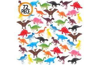 Amy & Benton Mini Dinosaurs Toys, 72PCS Educational Dinosaurs Figures Model Toys, Jurassic Assorted Dinosaurs Toys Toddlers Kids,Gifts age 3 4 5 6 7