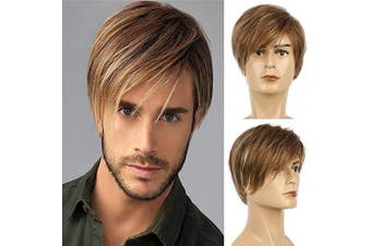 Baruisi Mens Brown Wig Short Layered Straight Cosplay Synthetic Hair Wig for Male Guy