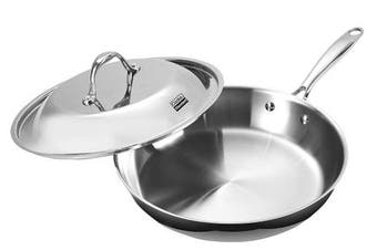 (30cm , Silver) - Cooks Standard 30.5cm Fry Pan with Dome Lid Multi-Ply Clad Stainless Steel (30.5cm Fry Pan with Lid)