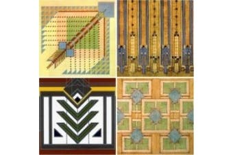 "CoasterStone AS310 Absorbent Coasters, 4-1/4-Inch, ""Frank Lloyd Wright Rug Designs"", Set of 4"