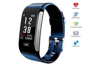 (Silverblue) - Hocent Fitness Tracker Activity Smart Bracelet Wristband with Pedometer Heart Rate Sleep Monitor Step Calorie Counter Waterproof IP67 Call SMS SNS Remind for Men Women Kids Compatible with Android IOS