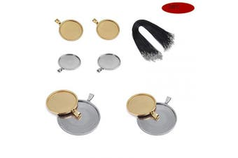 (mix) - 316 Stainess Steel Pendant Trays Round Cabochon Bezel Tray with 10Pcs Black Waxed Necklace Cord for Crafting DIY Jewellery Gift Making (28Pcs)