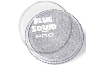 (Metallic Silver) - Blue Squid Pro Face Paint – Metallic Silver (30gm), Superior Quality Professional Water Based Single Cake, Face & Body Makeup Supplies for Adults, Kids & SFX