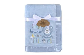 (Blue) - Baby Essentials 30x40 Fleece Baby Blanket with Satin Trim for Boys, Girls, and Unknown Gender Baby (Blue)