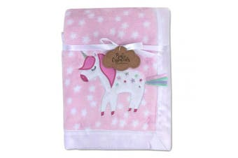 (Unicorn) - Baby Essentials 30x40 Fleece Baby Blanket with Satin Trim for Boys, Girls, and Unknown Gender Baby (Unicorn)