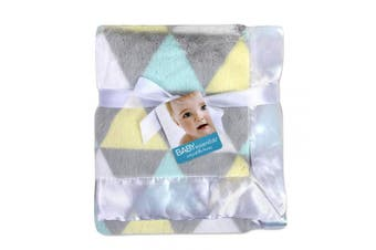 (Triangles) - Baby Essentials 30x40 Fleece Baby Blanket with Satin Trim for Boys, Girls, and Unknown Gender Baby (Triangles)