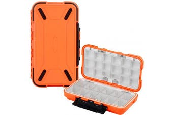 (Orange) - Uniwit Fishing Tackle Box Compact Waterproof Fishing Storage Box, Plastic Fishing Lure Box, Removable Grid Storage Organiser Making Kit for Fishing Lure/Hook Beads Earring Container Tool