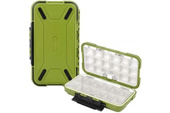 (Green) - Uniwit Fishing Tackle Box Compact Waterproof Fishing Storage Box, Plastic Fishing Lure Box, Removable Grid Storage Organiser Making Kit for Fishing Lure/Hook Beads Earring Container Tool