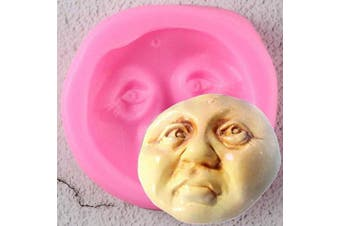Halloween 3D Round Moon Face Silicone Mould DIY Soap Mould Chocolate Fondant Mould Candy Crystal Ice Cube Desserts Handmade Ice Cream Cupcake Cake Topper Decoration Gum Paste Pudding Jelly Shots