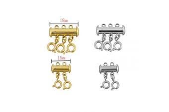 (mix) - 4 Pcs 316 Stainless Steel Necklace Spacer Layering Clasps Multi Strands Slide Tube Clasps for Layered Bracelet Necklace Jewellery Crafts (2 & 3 Strand,Gold & Stainless Steel)