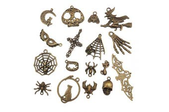51pcs Halloween Theme Charm Pendant Witch Cat Spider Bat Hands Skeleton Collections Jewellery Findings Making Accessory for DIY Necklace Bracelet Keychain(Assorted Antique Bronze)