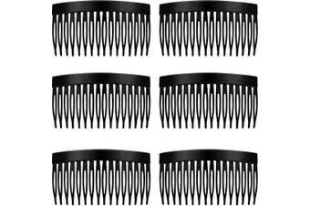 (Black) - 6 Pieces Hair Combs Slides Tortoise Plain Hair Combs Clear Plain Hair Combs Side Combs Hair Combs 8.5 cm Hair Side Comb Set (Black)