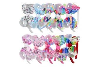 (10pcs-Unicorn bow headband) - 7Rainbows 10pcs Girls Unicorn Hair Bows On Headband Pineapple Hair Hoop Princess Dance Headbands.