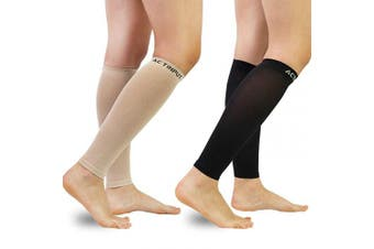 (2XL(Calf 50cm  - 60cm ), A1 - Nude+black) - Compression Calf Sleeves (20-30mmHg) for Men & Women - Leg Compression Socks for Shin Splint,Running,Medical, Travel, Nursing