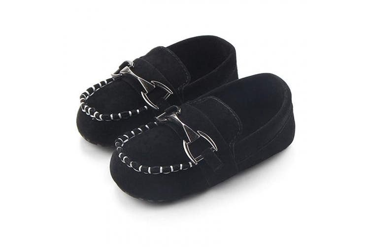 (0-6 Months, Black) - Lidiano Baby Nubuck Vamp Soft Sole Toddler Loafers Boat Shoes Crib Shoes (0-6 Months, Black)
