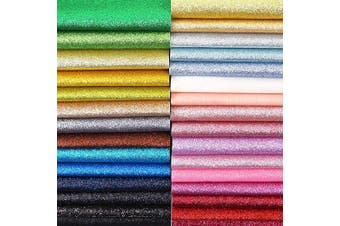 Caydo 30 Colours Glitter Faux Leather Sheets, Leather Sheets for Earring Making, Hair Clips Bows Making, 32cm x 22cm