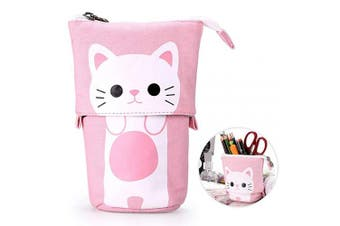 (Pink) - Telescopic Pencil Pouch Standing Pen Holder Cute Pencil Bags Stand Up Pen Case Cartoon Pencil/Pens Storage Box Canvas+PU Stationery Organiser Makeup Bag with Zipper Closure (Pink)