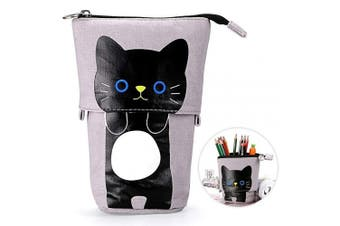 (Gray) - Telescopic Pencil Pouch Standing Pen Holder Cute Pencil Bags Stand Up Pen Case Cartoon Pencil/Pens Storage Box Canvas+PU Stationery Organiser Makeup Bag with Zipper Closure (Grey)