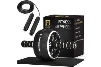 Fitness Invention Ab Roller Wheel - 3-in-1 AB Roller Kit with Premium Jump Rope, Knee Pad - Ab Wheel Roller for Home Gym - Speed Jump Rope - Abs Roller Wheel for Core - Ab Wheel Workout Equipment