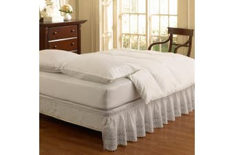 (queen/king, white) - Easy Fit Ruffled Eyelet Queen/King Bed Skirt