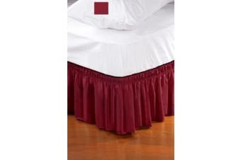(Queen/King, Burgundy) - Wrap Around Style Easy Fit Elastic Bed Ruffle for King and Queen Size Beds, Burgundy