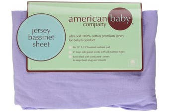 (Lavender) - American Baby Company 100% Natural Cotton Supreme Jersey Knit Fitted Bassinet Sheet, Lavender, Soft Breathable, for Girls