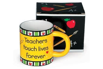 (1, Yellow) - Teachers Touch Lives Forever Coffee Mug Great Teacher's Gift