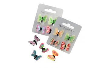 (4 x Butterfly Claw Clips) - 1 Pair x Hair Clips For Dress Up Make Up Costume Birthday - Butterfly Unicorn Floral Kitten - Claw Clips Clamps Accessories For Girls Kids (4 x Butterfly Claw Clips)
