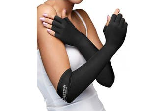 (X-Large) - Copper Compression Long Arthritis Gloves - Guaranteed Highest Copper Content. Best Copper Infused Extra Long Fit Glove for Women + Men Carpal Tunnel Computer Typing Support Hands Wrist 1 Pair (XL)