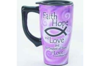 Spoontiques Faith, Hope, Love Ceramic Travel Mug