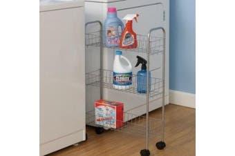 (Contemporary) - Household Essentials 7011 Slim Line 3-Tier Metal Storage Cart   Satin Silver