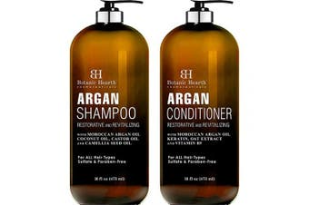 BOTANIC HEARTH Argan Oil Shampoo and Conditioner Set - with Keratin, Restorative & Moisturising - Sulphate & Paraben Free - for All Hair Types and Colour Treated Hair, Men and Women - 470ml x 2
