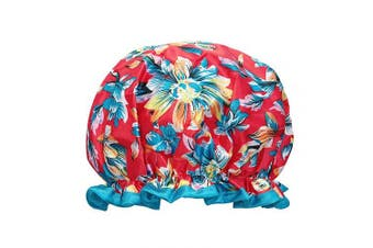 (Exotic Floral) - allydrew Reusable Women's Waterproof Shower Caps for Long Hair, Exotic Floral