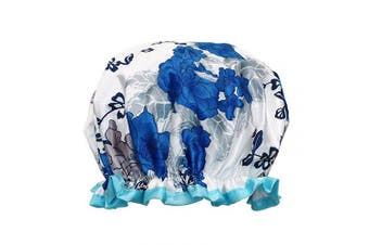(Blue Floral) - allydrew Reusable Women's Waterproof Shower Caps for Long Hair, Blue Floral
