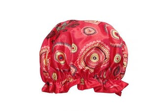 (Red Circle) - allydrew Reusable Women's Waterproof Shower Caps for Long Hair, Red Circle