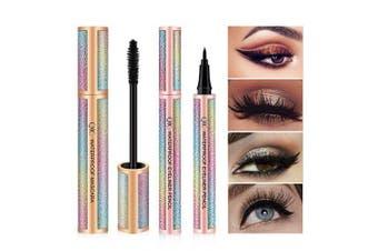 4D Silk Fibre Lash Mascara & Eyeliner Waterproof Pen Set, COOSA Mascara Longer, Thicker, Voluminous Eyelashes,Natural Waterproof Smudge-Proof Liquid Eye Liner (Black)