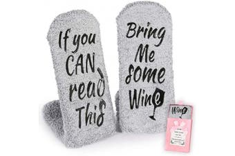 (Gray Wine Socks) - Breezy Valley Wine Gifts for Women Her, Funny Gifts for Mom Grandma Friend, Birthday Gift Ideas, If You Can Read This Bring Me Some Wine Socks, Stocking Stuffers Wine Accessories Gift Boxes - Grey