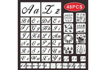 Letter Stencils for Painting on Wood,BAPHILE Alphabet Numbers and Signs Stencils with Calligraphy Font Upper and Lowercase Letters,Christmas Template,Reusable Xmas Stencils for Art and Craft DIY
