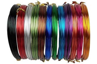12 Rolls Aluminium Craft Wire Flexible Colourful Metal Artistic Floral Jewellery Beading Wire for DIY Jewellery Craft Making 18 Guage Each Roll 5m