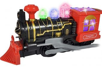 (Red) - ANJ Kids 2019 Holiday Toys - Battery Operated Train Toys for Kids - Bump N Go Locomotive Toy Train | Dual Action Modes, Flashing Colourful Lights and Playing Realistic Train Running Sound Effects