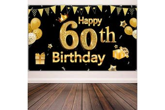 60th Birthday Party Decoration, Extra Large Black Gold Sign Poster 60th Birthday Party Supplies, 60th Anniversary Backdrop Banner Photo Booth Backdrop Background Banner, 180cm x 110cm