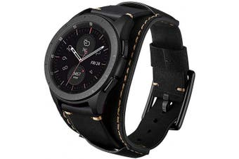 (Black) - Leotop Compatible with Samsung Galaxy Watch 46mm/Gear S3 Frontier/Classic Bands, 22mm Replacement Genuine Leather Cuff Strap with Stainless Steel Metal Buckle for Men Women (Black)