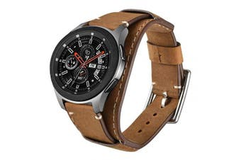 (Brown) - Leotop Compatible with Samsung Galaxy Watch 46mm/Gear S3 Frontier/Classic Bands, 22mm Replacement Genuine Leather Cuff Strap with Stainless Steel Metal Buckle for Men Women (Brown)
