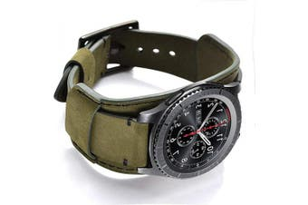 (Army Green) - Coobes Compatible with Samsung Galaxy Watch 46mm/Gear S3 Frontier/Classic Bands, 22mm Genuine Leather Cuff Bracelet Replacement Strap with Stainless Steel Buckle for Men Women (Army Green)
