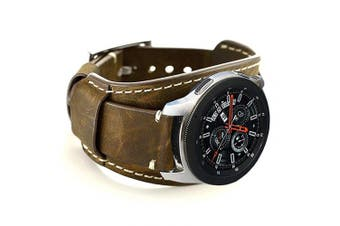 (Coffe) - Coobes Compatible with Samsung Galaxy Watch 46mm/Gear S3 Frontier/Classic Bands, 22mm Genuine Leather Cuff Bracelet Replacement Strap with Stainless Steel Buckle for Men Women (Coffe)
