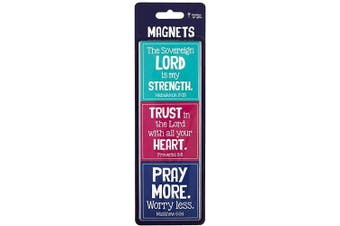 (Trust Pray) - Christian Art Gifts Magnet Set of 3 Sovereign Lord Hab 3: 19